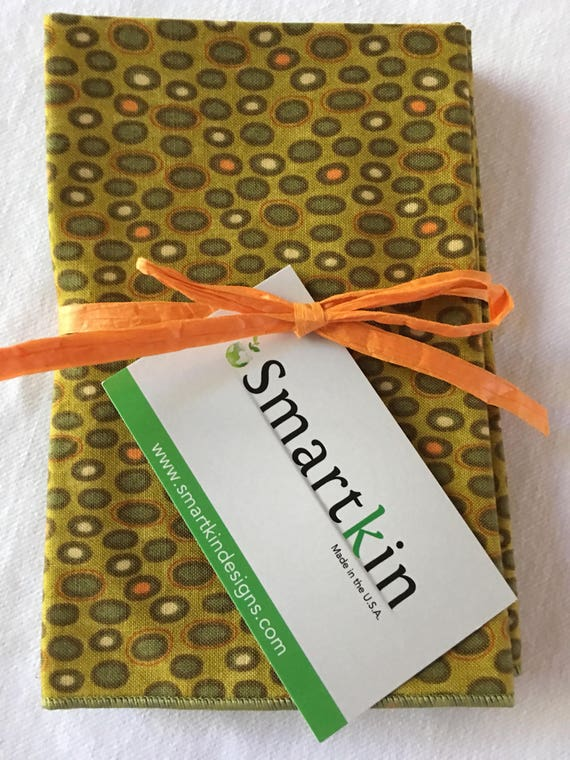 Set of 8 Fall Modern All Cotton Green Dots Cloth Napkins 12x15 in Size by Smartkin