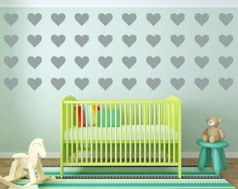 Hearts Wall Decals - Hearts Decals - Nursery Wall Decal - Vinyl Stickers - Girl Wall Decal - Hearts Wall Stickers - Peel & Stick Hearts