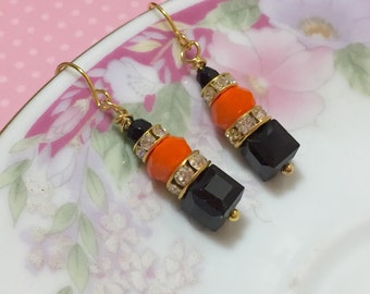 Petite Beaded Earrings in Halloween Colors, Sparkling Rhinestone Earrings, Black and Orange Earrings, Surgical Steel, KreatedByKelly