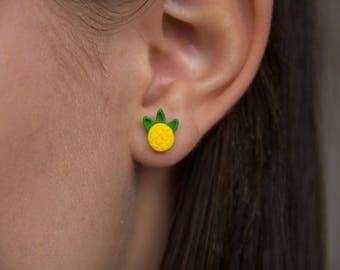 Pineapple Stud Earrings - Handmade Polymer Clay