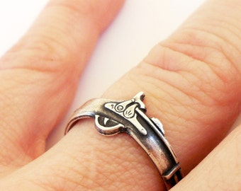 Steampunk Rifle Ring Sterling Silver Ox Finish