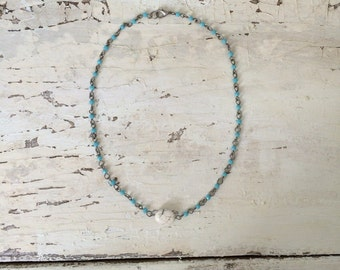 Blue Marble Stone Necklace