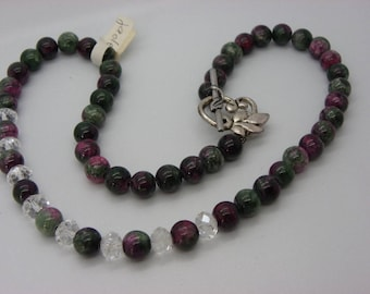 jade and 8 mm Crystal Necklace with purple, green, pink
