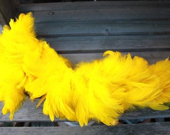Schlappen feathers 3-5  inch length, bright yellow-rooster feathers