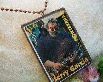 Jerry Garcia Necklace Jerry Garcia Postage Stamp Jerry Garcia Picture Pendant Collector Stamp Grateful Dead Jewelry Grateful Dead Necklace