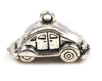 6 VOLKSWAGON VW Love Bug 3 D Car Charms Antique Silver Tone Hippie Jewelry Supplies 14x24x10 mm