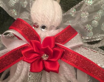 White Yarn Angel Christmas Tree Ornament Red Bow