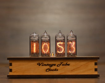 IN-14 Nixie Tube Vintage Retro Desk Clock Assembled Tested Wooden Case Adapter 110/240V