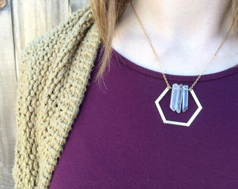 Crystal necklace / crystal jewelry / raw crystal / quartz crystal / gold hexagon / geometric necklace / gold necklace / handmade jewelry