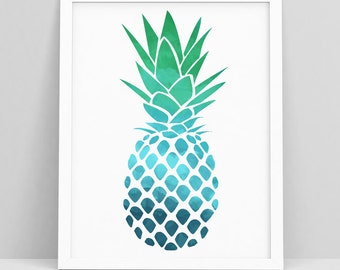 Pineapple Prints - Pineapple Poster - Pineapples print - Pineapple Decor - Pineapple Wall Print - Pineapple Wall Art - Abstract Coastal Art