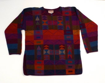 Geometric Tunic Southwestern Sweater Vintage Alpaca Wool Bolivian Pullover Multicolor Sweater Size Small Tribal Handloomed Bolivia Jeweltone