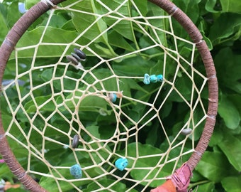 Turquoise & Pebble Dream Catcher