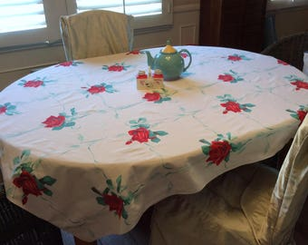 Vintage Wilendur Tablecloth Red American Beauty Rose