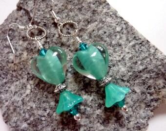 Aqua Heart Earrings, Lampwork Beads, Handmade, Gift for her, Valentine's Day