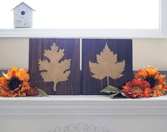 GOLD LEAVES Wooden Signs- Set of Two- Rustic Wooden Home Decor- Wall Art- Autumn Inspired