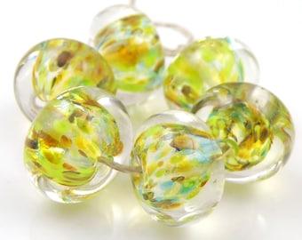 Plein Air Encased SRA Lampwork Handmade Artisan Glass Donut/Round Beads Made to Order Set of 6 10x15mm
