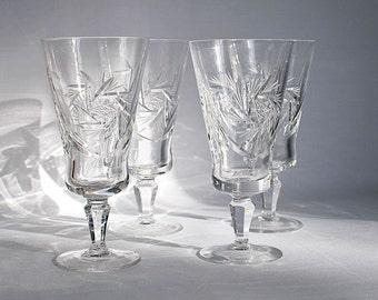 Vintage Cut Lead Crystal Stemmed Wine Glasses Pinwheel Pattern / Set of Four Crystal Wine Glasses  / Stemmed Wine Glasses / Crystal Stemware