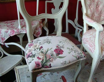 Handpainted vintage shabby chic balloon backed chair...