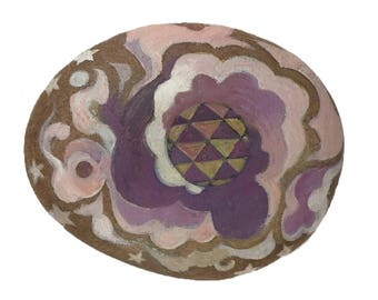 Cosmic hand painted rock with sacred geometry