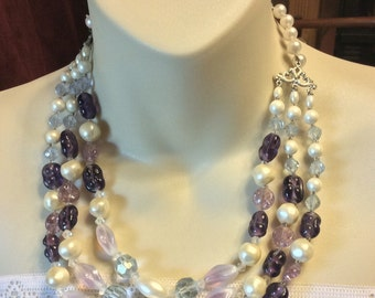 Vintage 1950's glass and baroque pearl triple strand necklace