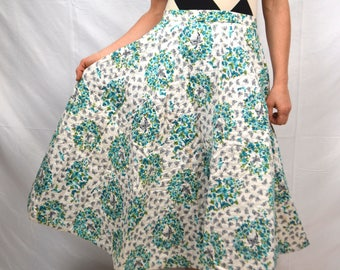 Amazing Print Vintage Quilted Butterfly Floral 1950s 50s Skirt - Garey Bros. - California