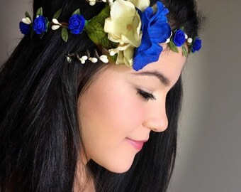 Royal blue floral crown, leaf crown, blue flower crown, paper flower crown, bridal crown, blue bridal crown, woodland floral wreath, circlet