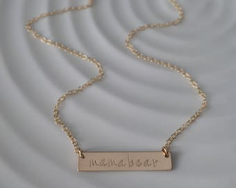 Mamabear Bar Necklace - gold filled - hand stamped bar - custom layering necklace - gift for her - christmas gift - raising my tribe