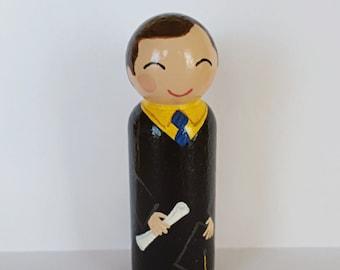 Hand Painted Love Boxes Graduate Graduation Portrait Peg Doll Wood