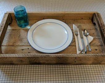 Reclaimed Wood Serving Tray (Large) - Breakfast Tray - Serving Platter