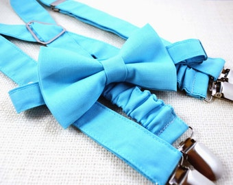 Turqoise blue bow tie and Suspender Set for baby/toddler/teen/adult
