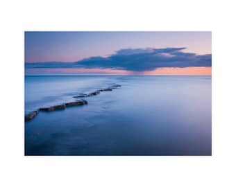 Sunset Photograph, English Channel Sea Coast, Dorset, Long Exposure Photography Print