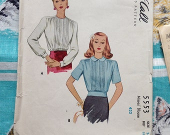 40's blouse pattern. McCall 5553. 32 bust.