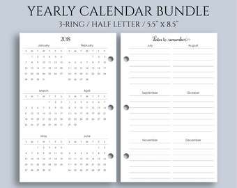 """Yearly Calendar Bundle, 2018 and 2019 Year-at-a-Glance, Important Dates, U.S. Holidays ~ Half Letter / 5.5"""" x 8.5"""" / Mini 3-Ring (3RM-YCB)"""