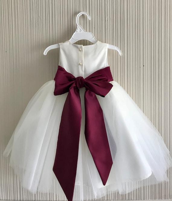 Burgundy flower girl dress white flower girl dress ivory like this item mightylinksfo