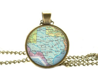 Texas map pendant, Texas state map jewelry, Texas state map necklace Texas pendant Texas map necklace