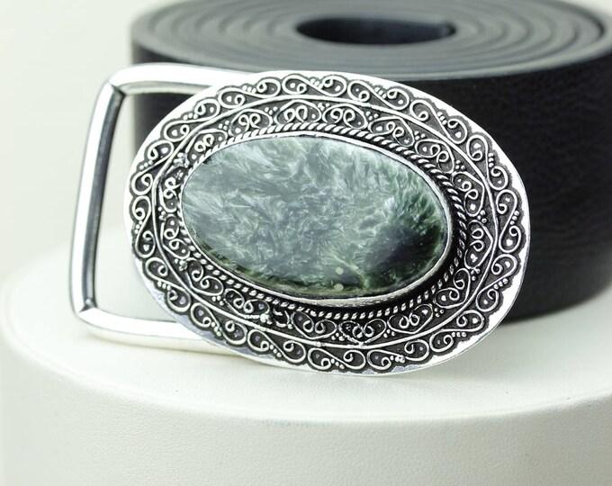 Genuine RUSSIAN SERAPHINITE Stone Vintage Filigree Antique 925 Fine S0LID Sterling Silver + Copper BELT Buckle T141