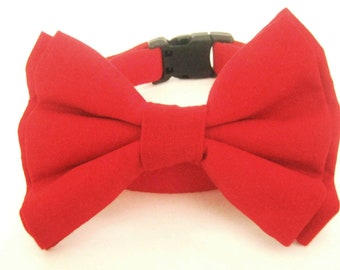 Dog collar with bow tie Red bow tie collar Pet collar Dog bow tie collar