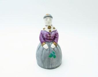 Dorei.Earthenware Bell.Lady.by Mikihiko Iwata.Japanese Folk Art.Hand paint.#eb41.msjapan.okimono