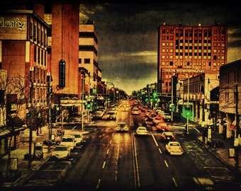 Downtown Appleton, Large Wall Art Print, Retro Scene, Home Decor, Fox Cities, Wisconsin, Office Decor, College Avenue