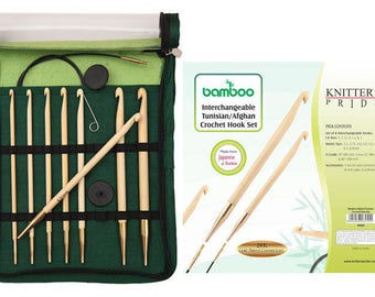 Knitter's Pride BAMBOO Interchangeable Tunisian/Afghan Crochet Hook Set
