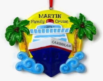 Cruise Ship Personalized Ornament - Vacation - Hand Personalized Christmas Ornament - Personalized Ornament