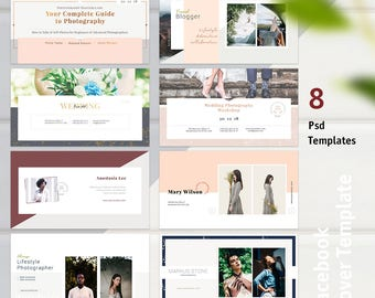 Facebook Cover Template Set - 8 Facebook Templates, Facebook Banner, Facebook Marketing, Photographer Template