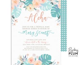 Tropical Baby Shower Invitation / Luau Baby Shower Invitation / Couples Coed Baby Shower Invitation / Pink Green Flower Boho Chic Botanical