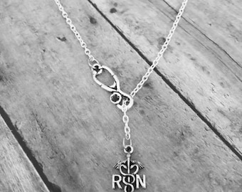 Nurse necklace - RN Necklace - Registered Nurse RN Medical Stethoscope Lariat Necklace