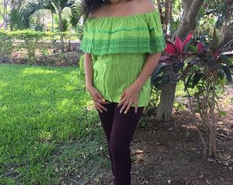 Campesina mexican lemon green blouse
