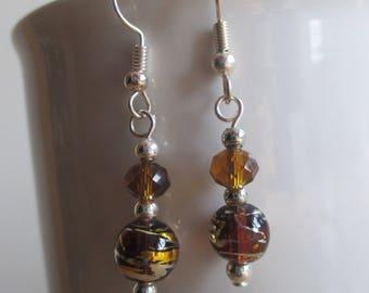 Abstract Brown Dangle Earrrings