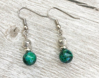 Chrysoprase Gemstone Earrings | Green and Silver Earrings