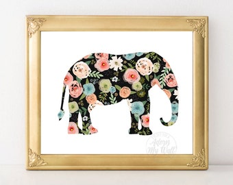 Nursery Wall Art, Floral Elephant Print, Floral Nursery Art, Elephant Nursery, Floral Watercolor, Elephant Art, Prints for girls room decor