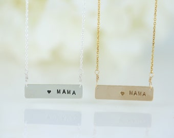 Heart Mama Bar Necklace, Sterling Silver, 14k Gold Fill, Family Necklace, Family Jewelry, Gifts for Mom, Love Necklace