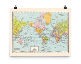 World map print etsy world map print matte poster print vintage world map wall art office gumiabroncs Gallery